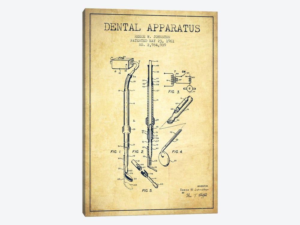 Dental Apparatus Vintage Patent Blueprint by Aged Pixel 1-piece Canvas Art
