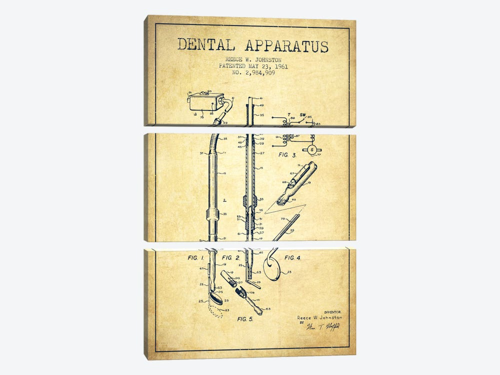 Dental Apparatus Vintage Patent Blueprint by Aged Pixel 3-piece Canvas Wall Art