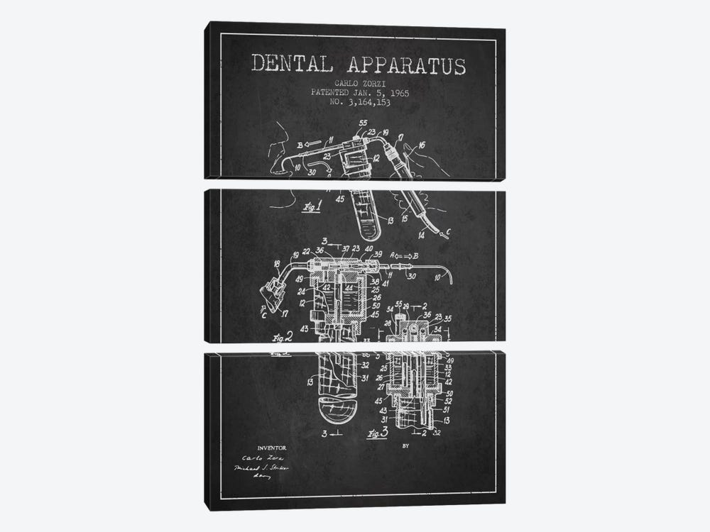Dental Apparatus Charcoal Patent Blueprint by Aged Pixel 3-piece Art Print