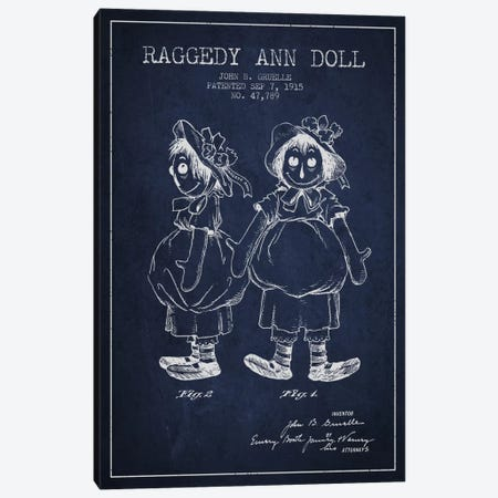 Raggedy Ann Navy Blue Patent Blueprint Canvas Print #ADP158} by Aged Pixel Canvas Print