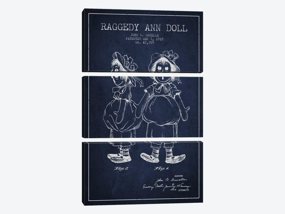 Raggedy Ann Navy Blue Patent Blueprint by Aged Pixel 3-piece Canvas Print