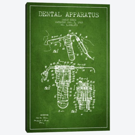 Dental Apparatus Green Patent Blueprint Canvas Print #ADP1590} by Aged Pixel Canvas Artwork