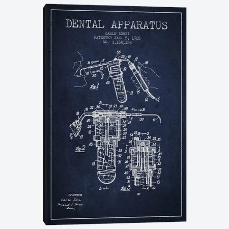 Dental Apparatus Navy Blue Patent Blueprint Canvas Print #ADP1591} by Aged Pixel Canvas Wall Art