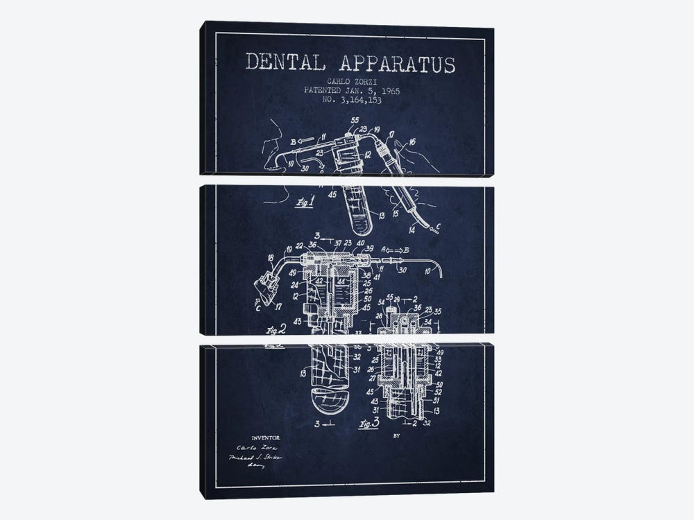 Dental Apparatus Navy Blue Patent Blueprint by Aged Pixel 3-piece Canvas Wall Art