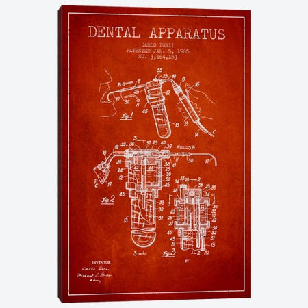 Dental Apparatus Red Patent Blueprint Canvas Print #ADP1592} by Aged Pixel Canvas Artwork