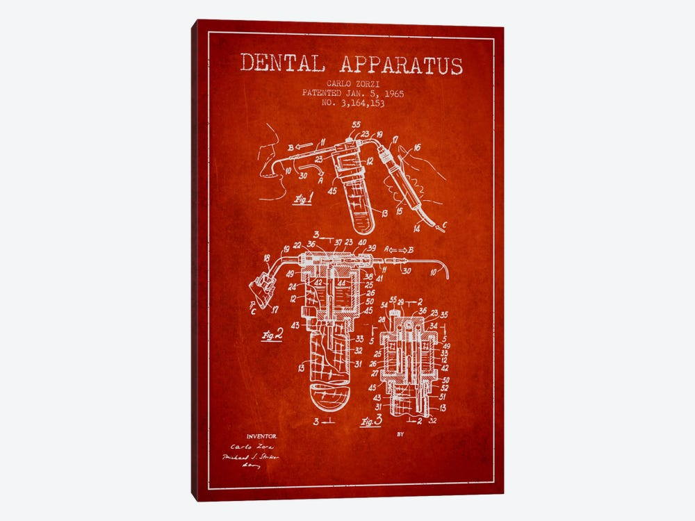 Dental Apparatus Red Patent Blueprint by Aged Pixel 1-piece Canvas Art Print