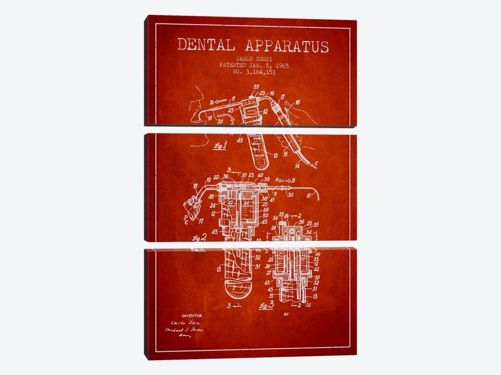 Dental Apparatus Red Patent Blueprint by Aged Pixel 3-piece Canvas Art Print