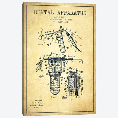 Dental Apparatus Vintage Patent Blueprint Canvas Print #ADP1593} by Aged Pixel Canvas Art