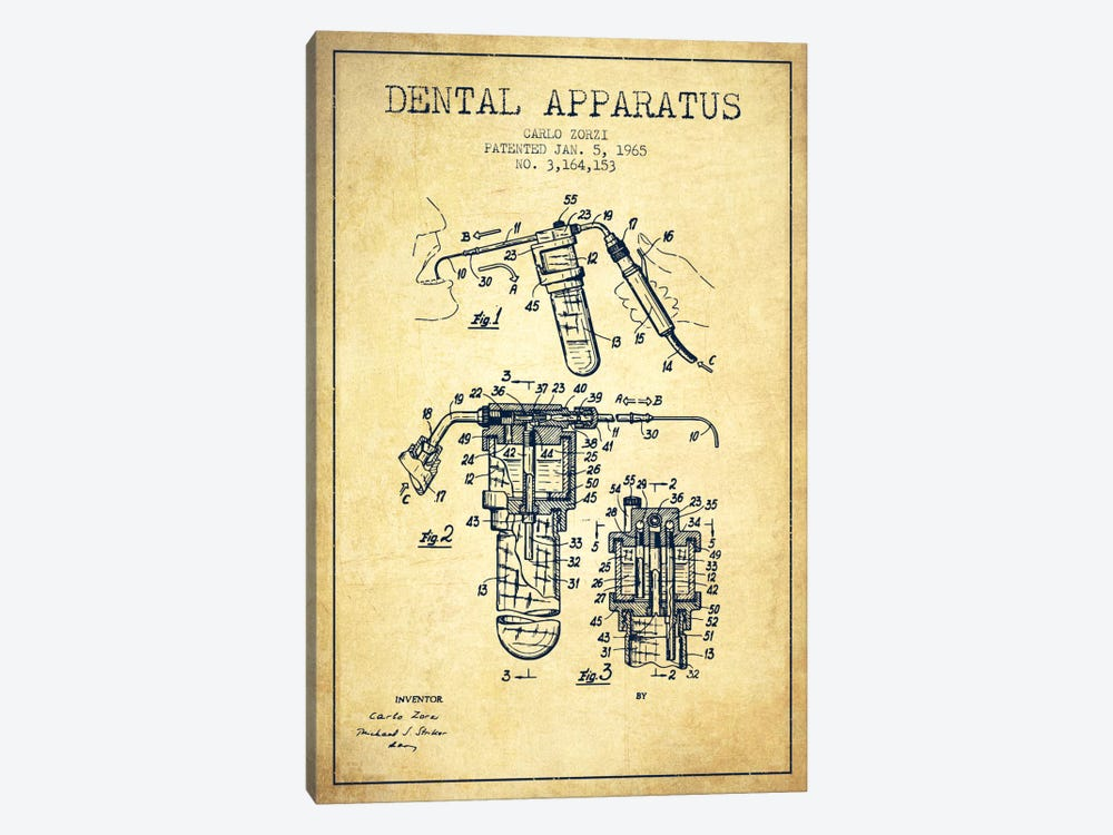 Dental Apparatus Vintage Patent Blueprint by Aged Pixel 1-piece Canvas Artwork