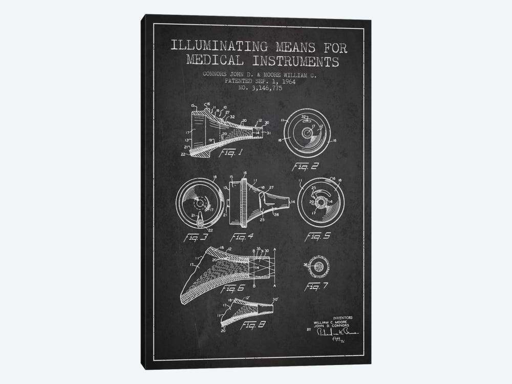 Medical Instruments Charcoal Patent Blueprint by Aged Pixel 1-piece Canvas Art Print