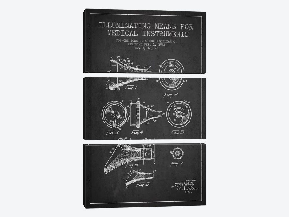 Medical Instruments Charcoal Patent Blueprint by Aged Pixel 3-piece Canvas Print