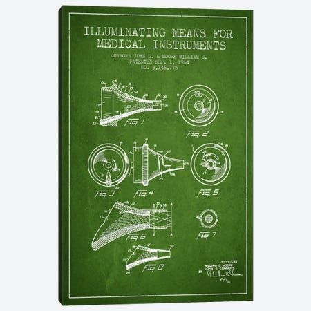 Medical Instruments Green Patent Blueprint Canvas Print #ADP1595} by Aged Pixel Canvas Print