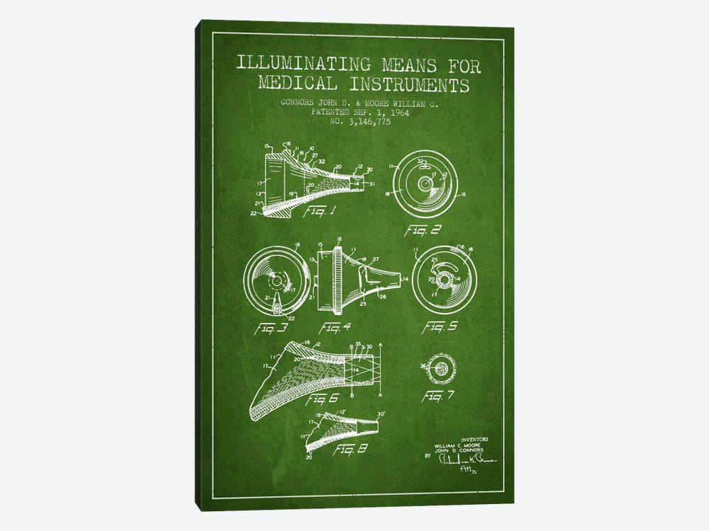 Medical Instruments Green Patent Blueprint by Aged Pixel 1-piece Canvas Art