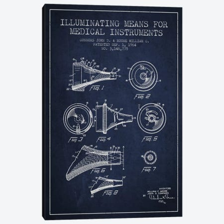 Medical Instruments Navy Blue Patent Blueprint Canvas Print #ADP1596} by Aged Pixel Art Print
