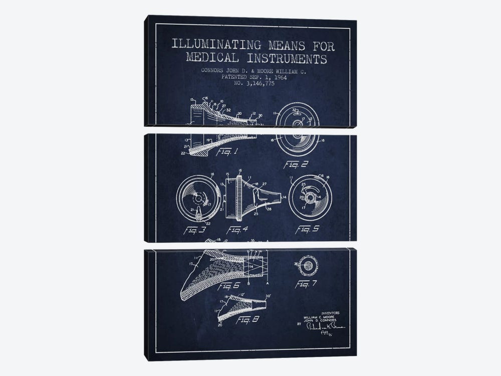 Medical Instruments Navy Blue Patent Blueprint by Aged Pixel 3-piece Canvas Art Print