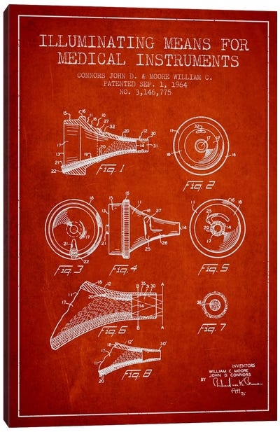 Medical Instruments Red Patent Blueprint Canvas Art Print