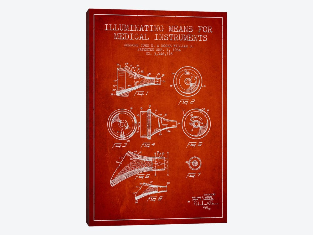Medical Instruments Red Patent Blueprint by Aged Pixel 1-piece Canvas Wall Art