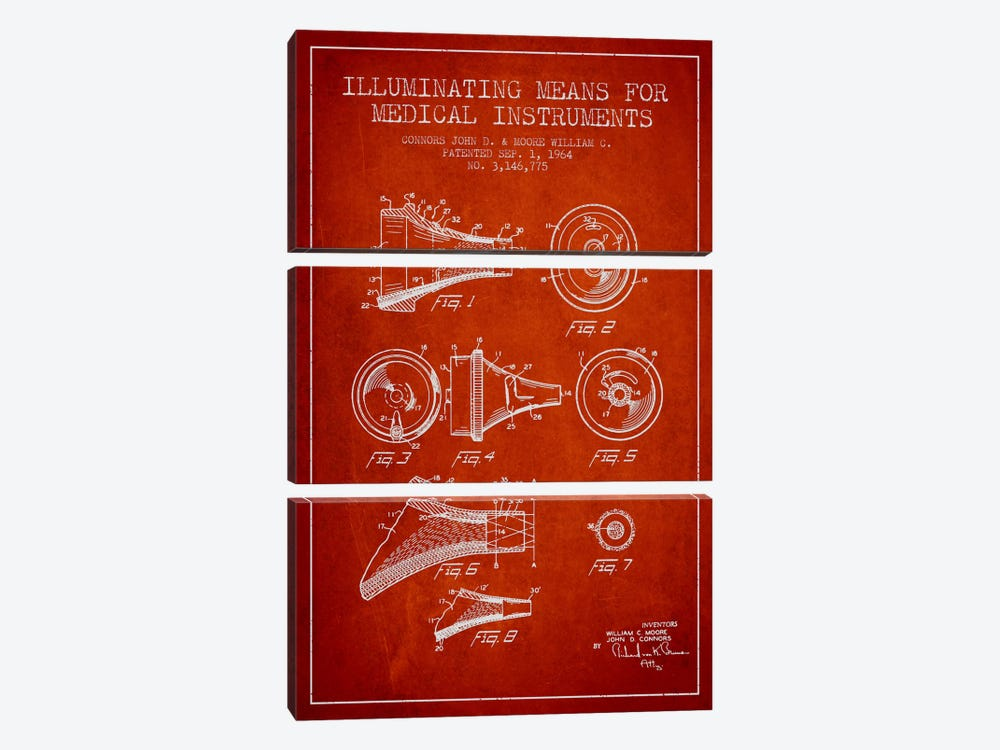 Medical Instruments Red Patent Blueprint by Aged Pixel 3-piece Canvas Wall Art