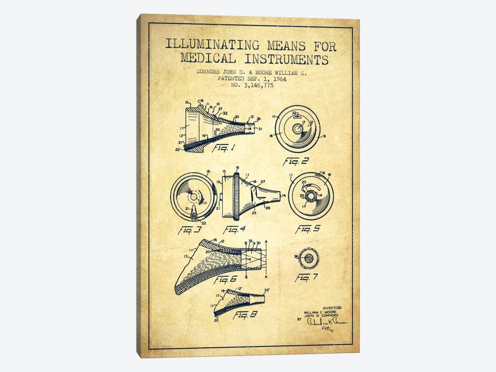 Medical Instruments Vintage Patent Blueprint by Aged Pixel 1-piece Canvas Print