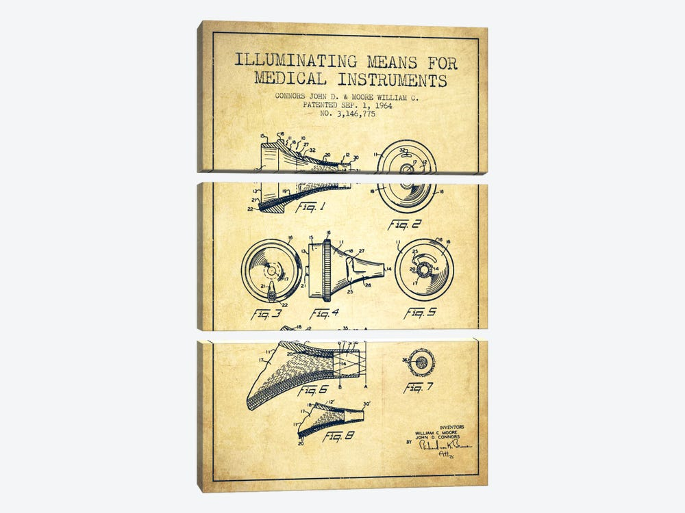 Medical Instruments Vintage Patent Blueprint by Aged Pixel 3-piece Canvas Print