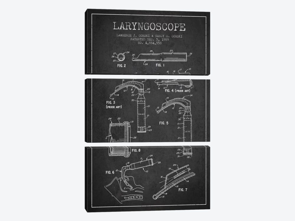 Laryngoscope Charcoal Patent Blueprint by Aged Pixel 3-piece Canvas Art
