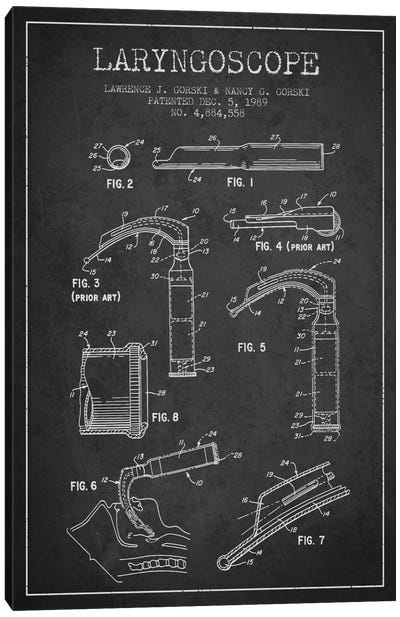 Laryngoscope Charcoal Patent Blueprint Canvas Art Print