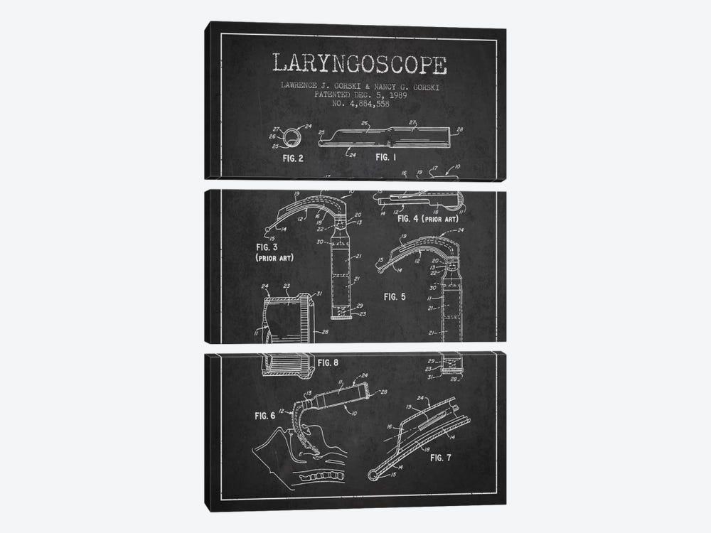 Laryngoscope Charcoal Patent Blueprint by Aged Pixel 3-piece Canvas Art