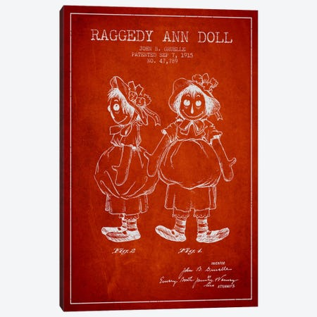 Raggedy Ann Red Patent Blueprint Canvas Print #ADP159} by Aged Pixel Canvas Art Print