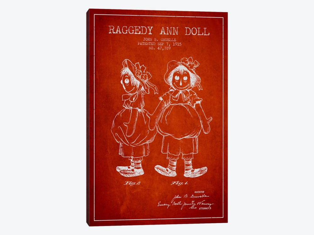 Raggedy Ann Red Patent Blueprint by Aged Pixel 1-piece Canvas Wall Art