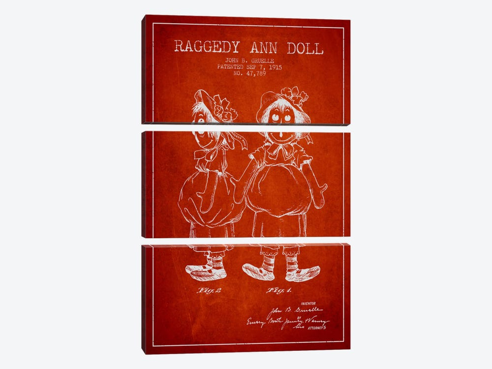Raggedy Ann Red Patent Blueprint by Aged Pixel 3-piece Canvas Art
