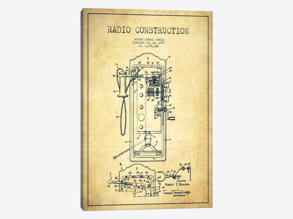 Bowers Radio Vintage Patent Blueprint by Aged Pixel 1-piece Canvas Print