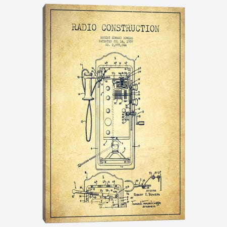 Bowers Radio Vintage Patent Blueprint Canvas Print #ADP15} by Aged Pixel Canvas Art