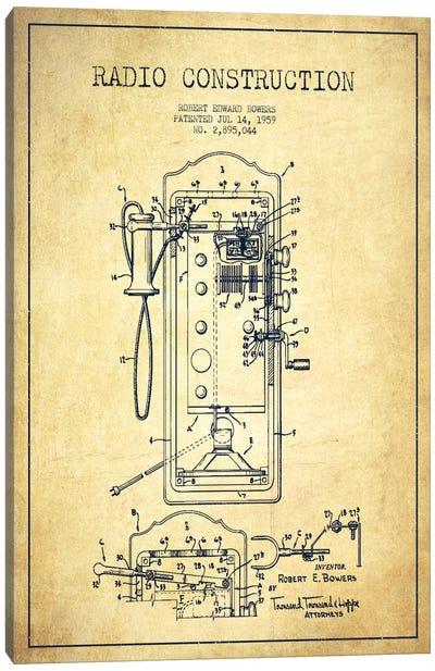 Bowers Radio Vintage Patent Blueprint Canvas Art Print