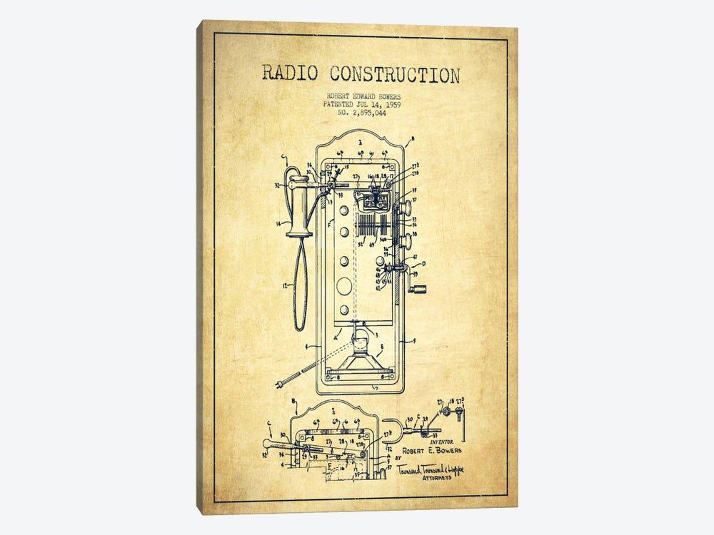 Bowers Radio Vintage Patent Blueprint by Aged Pixel 1-piece Canvas Print