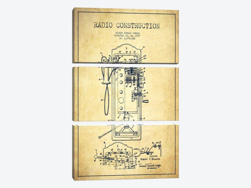 Bowers Radio Vintage Patent Blueprint by Aged Pixel 3-piece Canvas Art Print