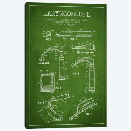 Laryngoscope Green Patent Blueprint Canvas Print #ADP1600} by Aged Pixel Canvas Wall Art