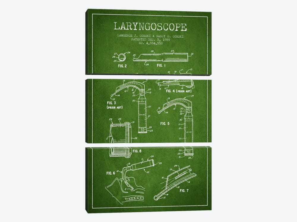 Laryngoscope Green Patent Blueprint by Aged Pixel 3-piece Canvas Art