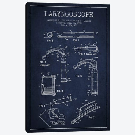 Laryngoscope Navy Blue Patent Blueprint Canvas Print #ADP1601} by Aged Pixel Canvas Art