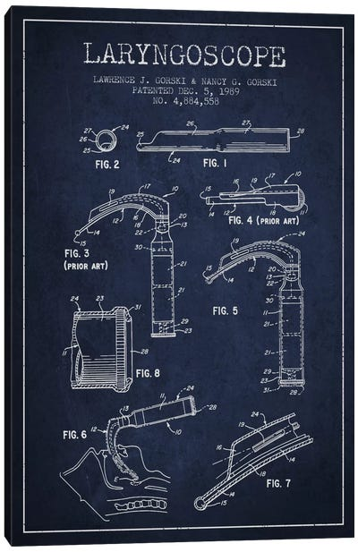 Laryngoscope Navy Blue Patent Blueprint Canvas Art Print