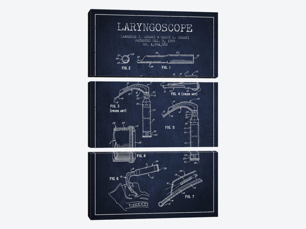 Laryngoscope Navy Blue Patent Blueprint by Aged Pixel 3-piece Canvas Print