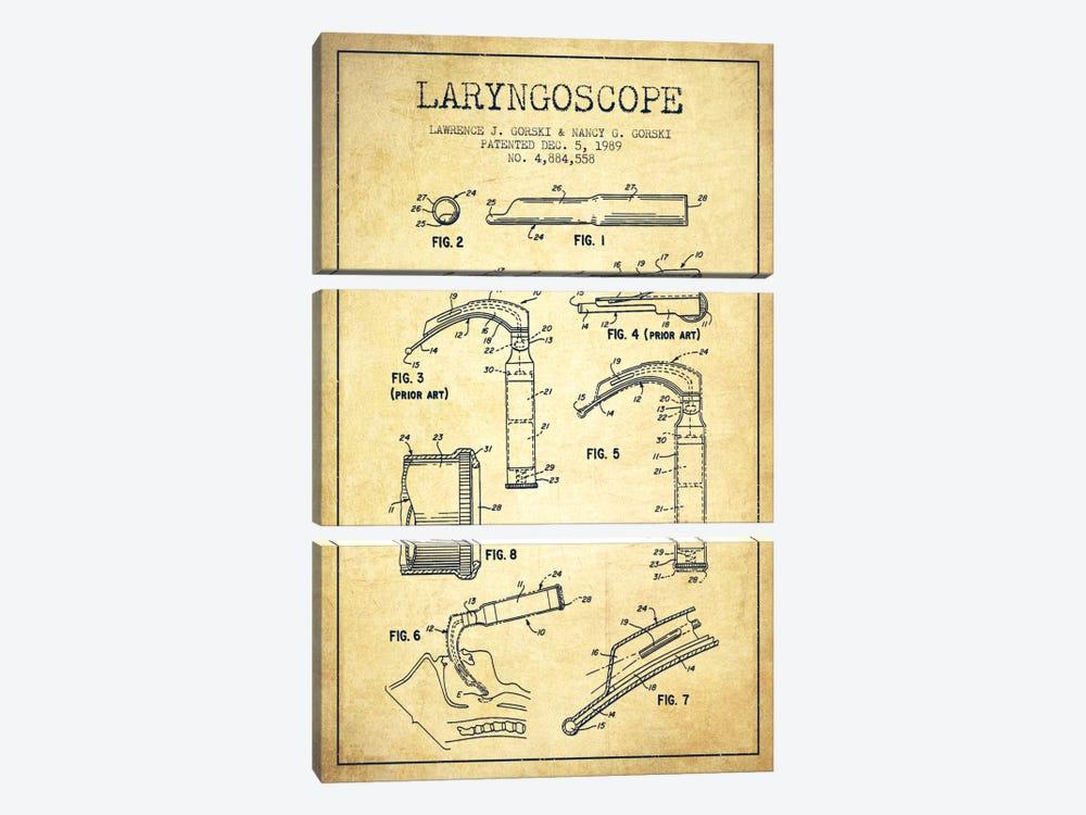 Laryngoscope Vintage Patent Blueprint by Aged Pixel 3-piece Canvas Print