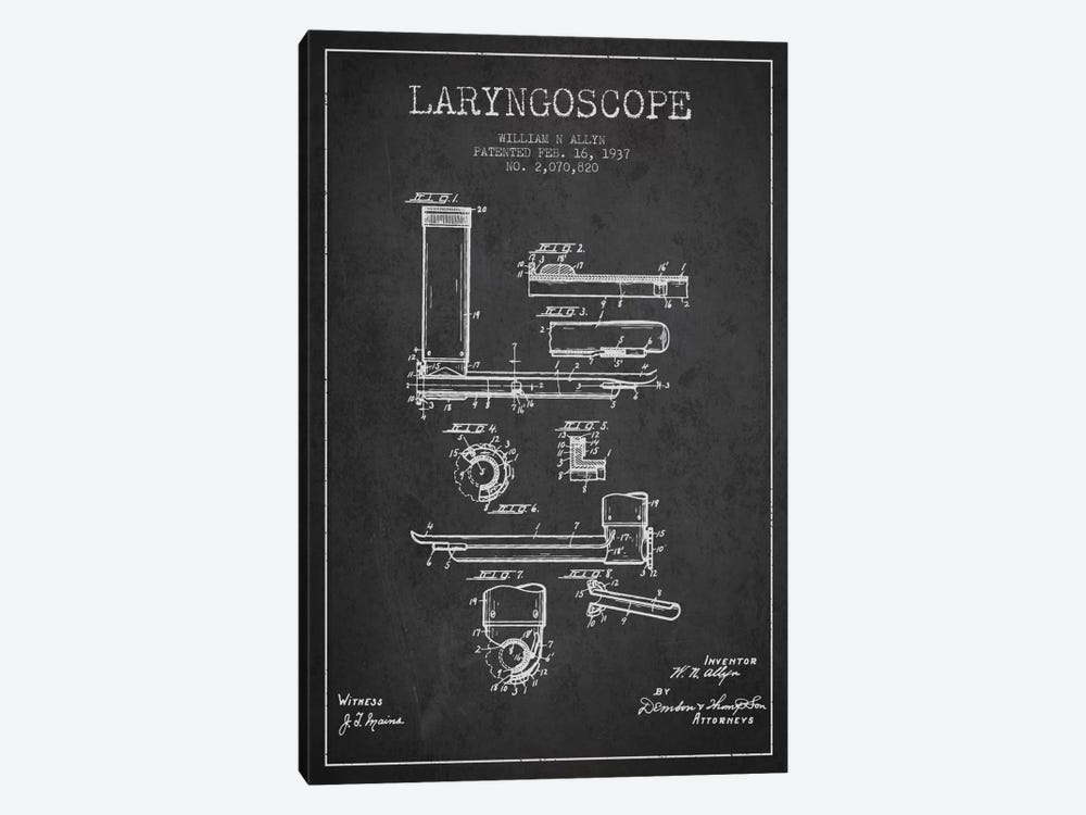 Laryngoscope Charcoal Patent Blueprint by Aged Pixel 1-piece Canvas Art
