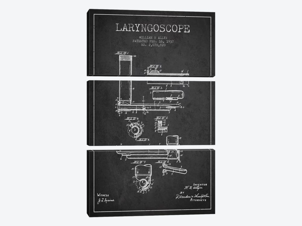 Laryngoscope Charcoal Patent Blueprint by Aged Pixel 3-piece Canvas Artwork