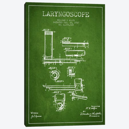 Laryngoscope Green Patent Blueprint Canvas Print #ADP1605} by Aged Pixel Canvas Print