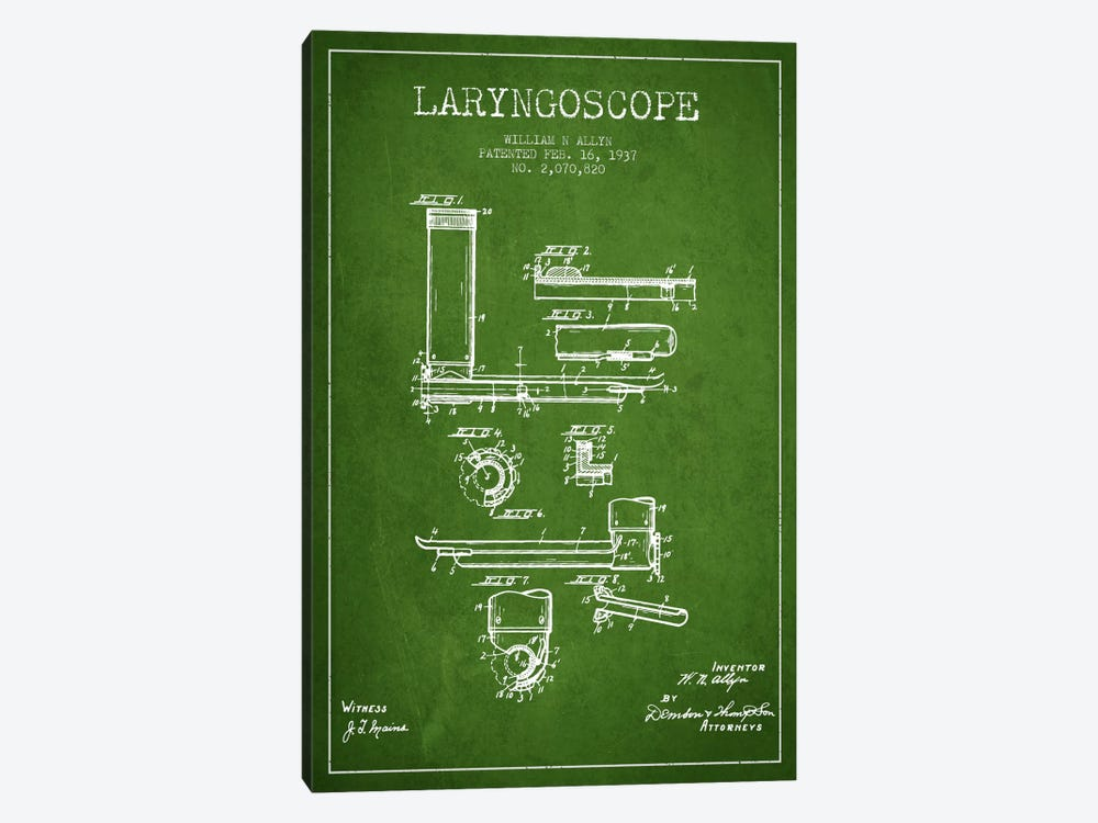 Laryngoscope Green Patent Blueprint by Aged Pixel 1-piece Canvas Art Print