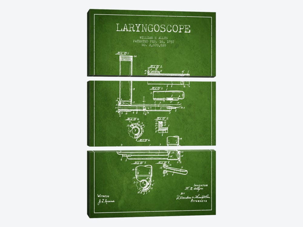 Laryngoscope Green Patent Blueprint by Aged Pixel 3-piece Canvas Art Print