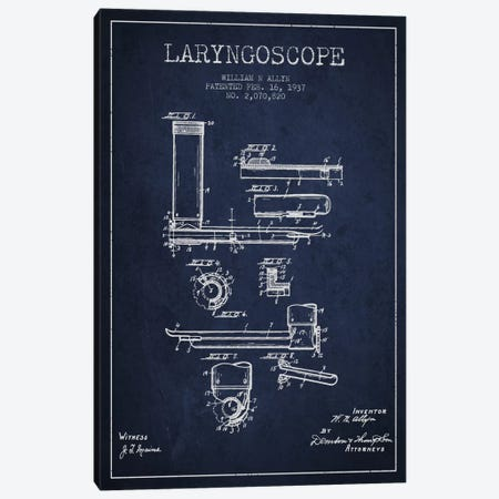 Laryngoscope Navy Blue Patent Blueprint Canvas Print #ADP1606} by Aged Pixel Canvas Art Print