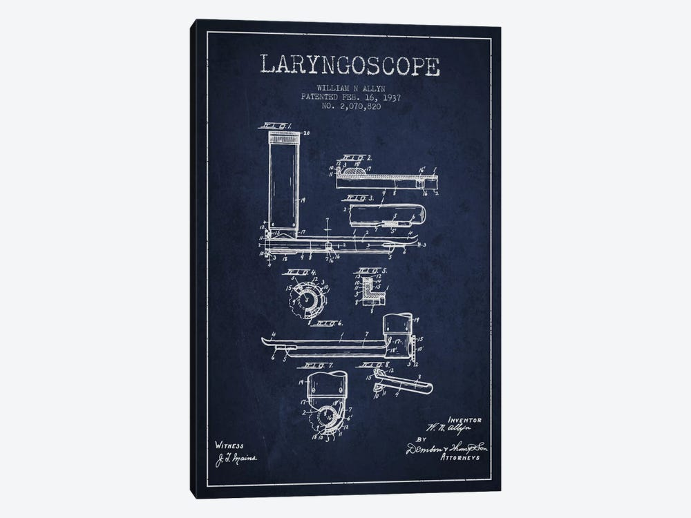 Laryngoscope Navy Blue Patent Blueprint by Aged Pixel 1-piece Canvas Art