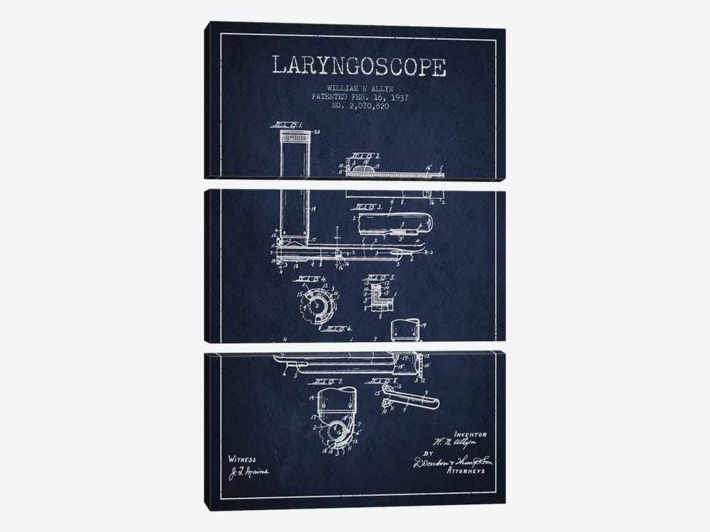 Laryngoscope Navy Blue Patent Blueprint by Aged Pixel 3-piece Canvas Wall Art