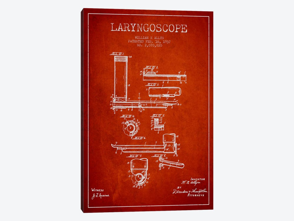 Laryngoscope Red Patent Blueprint by Aged Pixel 1-piece Canvas Art Print